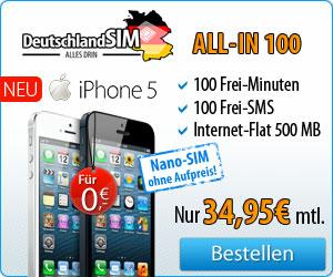 Jetzt bei DeutschlandSIM iphone5 mit allin100 sichern!